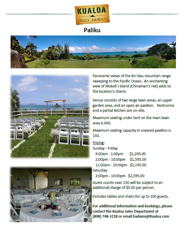 Oahu Reception Venue